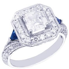 18k white gold asscher cut diamond and triangle sapphire by KNRINC