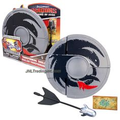 """Spin Master Year 2013 Dreamworks Movie Series """"DRAGONS - Defenders of Berk"""" Weapon Set - TRANSFORMING SHIELD that Converts to Crossbow Plus 1 Missile and Map"""