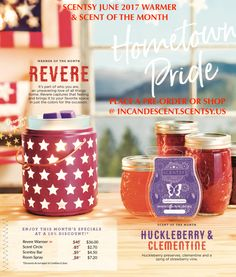Love it, Want it? Place a pre-order! The 2017 June Warmer of the month ~ REVERE SCENTSY WARMER It's part of who you are, an unwavering love of all things home. Revere captures that feeling and brings it to your favorite space in just the colors for the occasion. $40.00 36.00 ON SALE THE MON…