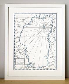 Lake Tahoe Basin Letterpress Printed Map (Navy) - for Hubs