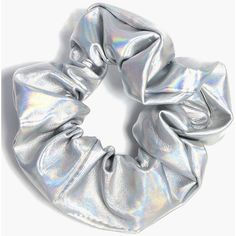Boohoo Womens Elena Metallic Holographic Scrunchie in Silver size One Size Body Glitter, Glitter Hair, Holographic Fashion, Accesorios Casual, Pastel Nail Polish, Hair Ties, Boohoo, Fashion Accessories, Polyvore
