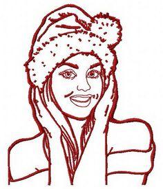 Girl in Santa hat 2 machine embroidery design. Machine embroidery design. www.embroideres.com