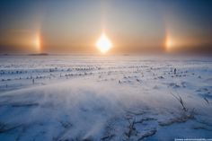 Arctic air and wind driven snow and ice create vivid sun dogs and haloing over western Iowa. Arctic Air, Sun Dogs, Field Of Dreams, Covered Bridges, Cool Paintings, Heaven On Earth, Natural Wonders, Amazing Nature, Back Home
