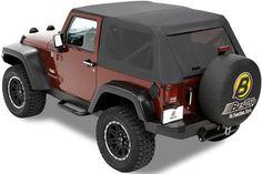 Bestop Trektop Soft Top for Jeep Wrangler 1997-2006 - Black Denim Bestop Jeep Tops B5680115