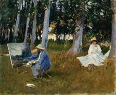 Claude Monet Painting by the Edge of a Wood 1885? Singer Sargent Oil on canvas ARTUK