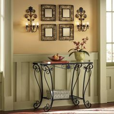 Console Table Set from Seventh Avenue ® Wrought Iron Console Table, Wrought Iron Decor, Wooden Christmas Crafts, Christmas Bathroom Decor, Entryway Wall Decor, Iron Furniture, Interior Design Living Room, Decoration, Diy Home Decor