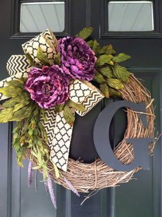 Purple Peony Wreath - Chevron Monogrammed Grapevine Wreath - Summer Wreath -Peony- Fall Wreaths - Personalized Gifts - Gift Ideas - Wreaths by jennyCmoon on Etsy https://www.etsy.com/listing/236779359/purple-peony-wreath-chevron-monogrammed