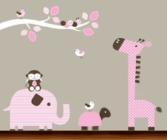 Baby Girl Nursery Pink and Brown Pattern Tree Branch and Animals Decals Set - Vinyl Wall Art Decal. $109.00, via Etsy.