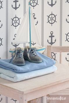 Nautical wallpaper in baby room by Fototapeta4u.pl