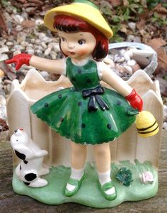 Vintage Relpo Ceramic Little Girl and Doggie by ellansrelics02