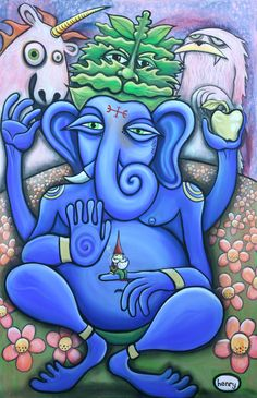 """""""End Strife"""", acrylic on canvas 2014 By ryan henry ward. a very emotional painting of ganesh, the greenman, the golden apple & other spiritual deities"""