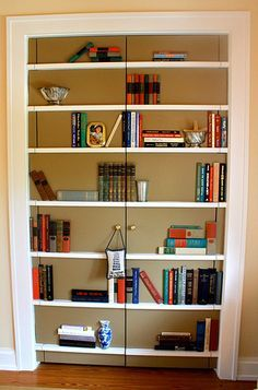 Faux Bookcase: Scour Sales For The Bindings Of Books, Remove From Book U0026  Adhere To These Fake Shelves.