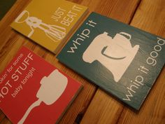 whip it good kitchen sign set of 3 by onecraftyfoxx on etsy