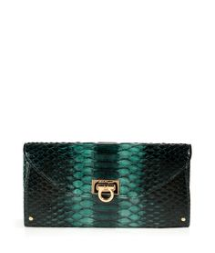 SALVATORE FERRAGAMO Python Wallet in Petrol-Add serious elegance to your every-day style with this luxe python wallet from Salvatore Ferragamo-Tonal petrol/teal python, classic envelope shape, front flap with logo hinged closure, internal middle sectional zip pocket, back wall credit card slots, teal leather lining-Ideal for all your personal accessories-Check out the hottest fashion trends here: http://www.designerhandbagspurses.net/designer-handbags-are-worth-the-splurge/