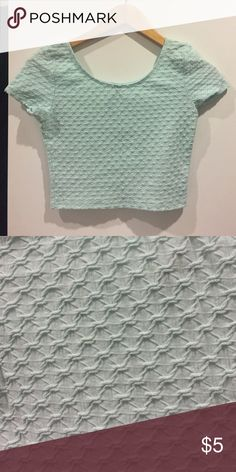 H&M light teal crop top NWOT H&M light teal poly-cotton crop top H&M Tops Crop Tops