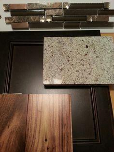 Kitchen Cabinet, kitchen granite, kitchen backslash and Acacia flooring samples