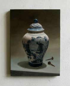 JAN WISSE: study - oil on panel - 'Delft Blue & nails' - 18 x...
