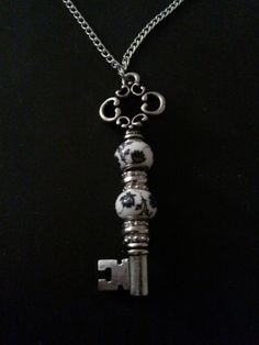 Vintage Style Beaded Key Pendant Necklace by DeTomasiDesigns, $20.00
