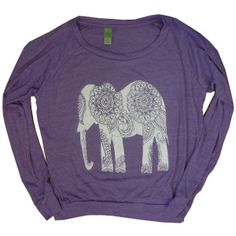 WOMEN ELEPHANT Screen Print Top Pullover Raglan found on Polyvore