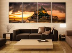 Mont St. Michel Church Canvas Print 4 Panels Print Art Wall Deco Fine Art Photography Repro Print for Home and Office Wall Decoration by ZellartCo TAGS mont st muchel church sunset island normandy epic wall art large wall art canvas print beautiful multi panel print home decoration office decor