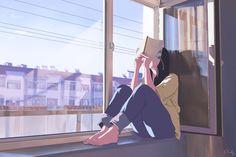 illustration Bild bei We Heart It Animes Wallpapers, Cute Wallpapers, Aesthetic Anime, Aesthetic Art, Bd Art, Scenery Wallpaper, Reading Art, Digital Art Girl, Anime Scenery