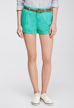 Belted Chino Shorts | Forever 21 -jade