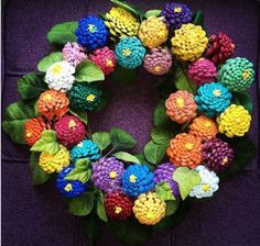 Here's another great craft to make with spray painted pine cones. There were no instructions on how to stick the pine cones to the wreath but the local craft store could help Pine Cone Art, Pine Cone Crafts, Wreath Crafts, Diy Wreath, Pine Cones, Wreath Ideas, Pine Cone Wreath, Acorn Crafts, Spring Projects