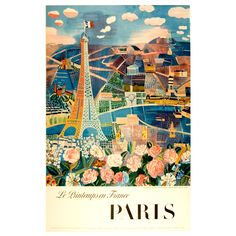 Paris in the Spring - Vintage travel poster | From a unique collection of antique and modern posters at http://www.1stdibs.com/furniture/wall-decorations/posters/