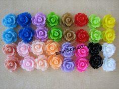 32PCS - Mini Rose Flower Cabochons - 10mm