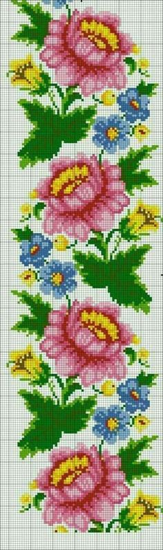 How to Crochet Wave Fan Edging Border Stitch - Crochet Ideas Cross Stitch Borders, Cross Stitch Rose, Cross Stitch Flowers, Cross Stitching, Cross Stitch Embroidery, Hand Embroidery, Cross Patterns, Modern Cross Stitch Patterns, Loom Patterns