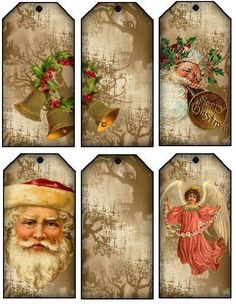 Christmas vintage art hanggift tags santa claus candy cane lovely heart stuff new years cards or another original idea for the advent calendar christmas labels negle Images
