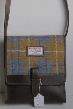 Cumbrae Harris Tweed shoulder bag, yellow and grey tartan