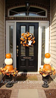 Halloween front porch wreath stacked pumpkins Adventures in Decorating
