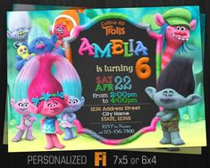 Invitación de trolls Trolls fiesta de cumpleaños Trolls