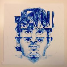 -fractured Lionel Messi. Fractured portrait... different self portrait assignment for students.