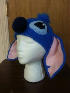 Crochet Disney's Lilo and Stitch, Stitch inspired adult child infant size character beanie hat by MrsTsCrochet on Etsy