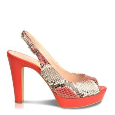 Roberto Durville Paris - Badra -Women's Red Python Embossed Leather High-Heel Sandals ... -- For more information, visit image link.