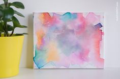 Kid Canvas Art with Bleeding Tissue Paper