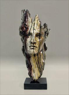 Nanouris Art Gallery: Medium Raku Ceramic Masks on Marble Base (Beta Series) Driftwood Sculpture, Driftwood Art, Sculpture Clay, Sculpture Ideas, Sculpture Romaine, Ceramic Sculpture Figurative, Ceramic Mask, Mannequin Art, Maquillage Halloween