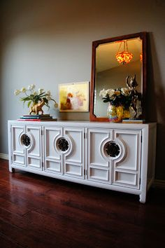 European Paint Finishes: Hollywood Regency, Glossy Lacquered Console. credenza. sideboard. refinished painted furniture high gloss white lacquer.