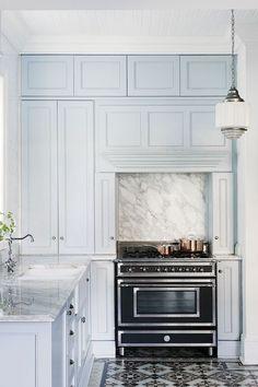 House Envy: A Modern Victorian Pale blue cabinets. Blue Kitchens, Kitchen Inspirations, Blue Kitchen Cabinets, Interior, Kitchen Remodel, House Interior, Modern Victorian, Home Kitchens, Modern Kitchen Design