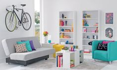 Modern clean colorful white gray living room