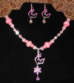 "Chloe's Creations Item 302- 16"" Browning Deer & Pink Jade Jewelry Set. by JewelryMadeByChloe on Etsy"