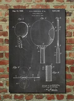 Table Tennis Racket or Paddle Patent Wall Art by PatentPrints, $6.99