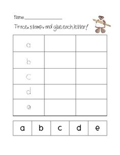 Here is the first page of the unit I sell. This is for a literacy center. Students will trace, write, and glue the letter. Thanks for looking! Plea...