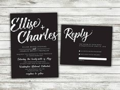 Black Wedding Invitations Set Vintage Wedding Invitations