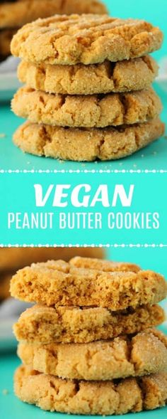 and easy vegan peanut butter cookies that are wonderfully crunchy, sweet, peanut-buttery and satisfying. A perfect dessert or filling snack! Biscuits Végétaliens, Vegan Biscuits, Easy Vegan Cookies, Vegan Peanut Butter Cookies, Quick Cookies, Vegan Butter, Dessert Simple, Healthy Vegan Snacks, Vegan Treats
