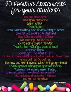 20 Positive Statements for Your Students {FREEBIE}   6 Positive Ways to Build Students Up