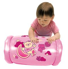 Bruin Peek In Roller - Pink Soft, inflatable, rolling baby activity toy that encourages babies to crawl. Features clear view apos
