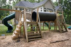 Large playset built by homeowner